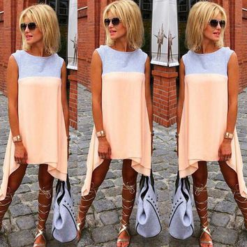 Fashion Irregular Sleeveless Mini Dress