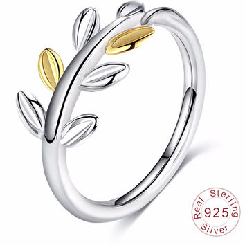 Authentic 925 Sterling Silver Leaves Ring Gold & Silver Color Wedding Ring