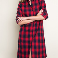 Flannel Midi Dress