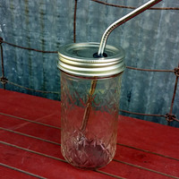 Mason Jar Tumbler & Stainless Steel Straw 12oz | To Go 12 oz Quilted Mason Drinking Glass | Ball Jar | Stainless Steel Straw