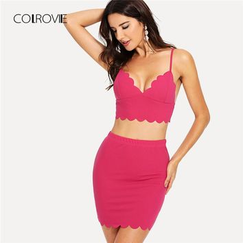 COLROVIE Scallop Edge Zip Back Crop Cami Top and Skirt Set 2018 Summer Hot Pink Backless Two Piece Set Plain Clothing Set