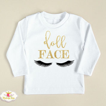 Doll Face Glitter Shirt. Trendy Girls Clothes. Glitter Baby Girl Outfit. Gold Glitter Girls Shirt. Size 6 M to 8 Yrs
