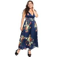 Plus Size Vneck Sleeveless Floral Print Maxi Dress