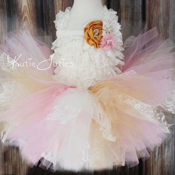 Vintage Lace Shabby Chic Tutu Skirt, Romper, Headband- Pink, Ivory, Gold, Flower Girl, Birthday, Cake Smash, Wedding, Toddler, Baby
