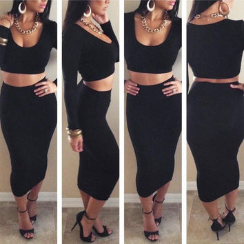 Ladies Exclusive Candy High Waisted Cropped Outfit Two Piece Bodycon Dress Skirt = 1956562884