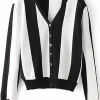 Long Sleeve V-neck Striped Buttons Cardigan