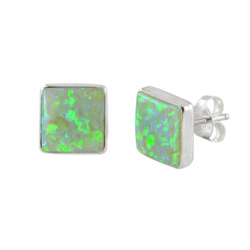 Opal Gemstone Stud Earrings Iridescent Green Sterling Silver 9mm Square