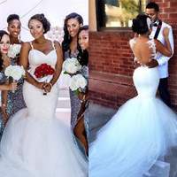 White Mermaid Wedding Bridal Dress with Sheer Back Custom Size 2 4 6 8 10 12 14