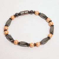 Magnetic Bracelet Triple Power Black Twist Beads Peach Pearlized 5,000 Gauss Clasp