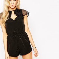 Oh My Love Playsuit with Lace Frill Detail