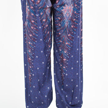 Plus Size Peacock Feathers Men's Harem Pants in Blue
