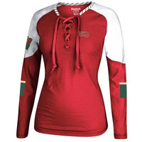 Minnesota Wild Reebok Women's Lace-Up Long Sleeve Hockey Top – Red/White