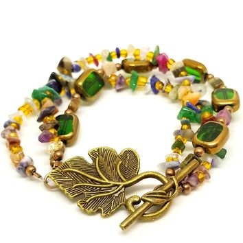 Leaf Jewels Multi Layer Bracelet