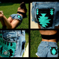 Vintage Tribal Patterned High Waisted Hand-Painted Jean Shorts