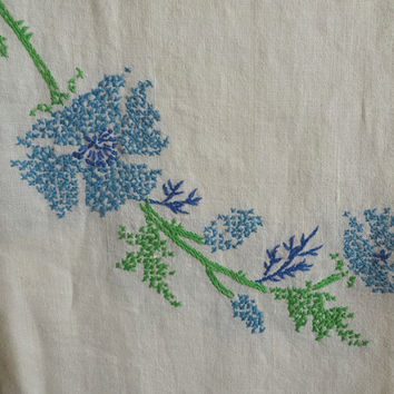 1970s Vintage Linen Tablecloth in White for UPCYCLE Supply, Hand Embroidery Cross Stitch Center Wreath in Blues, Green, Vintage Linens