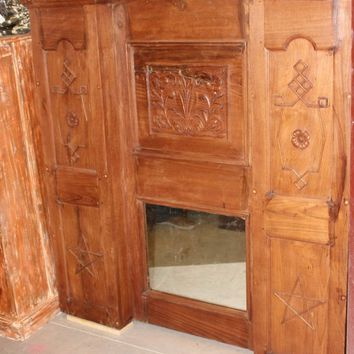 Antique Indian Wooden Hand Crafted Fireplace Surround Wood Mantel Console Interior Decor