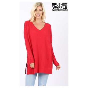 Cozy Me, V Neck Waffle Knit Ruby Red Sweater