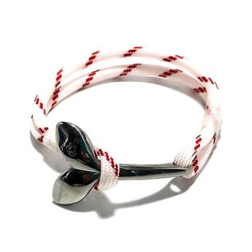 Red Stripe Nautical Whale Tail Bracelet Stainless Steel 164