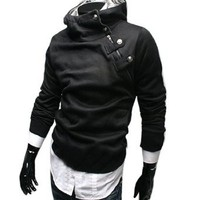 Amazon.com: Allegra K Stylish Korea Mens Slim Fit Top Designed Hoodie Coat Sweatershirt Black S: Clothing