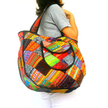 Tote bag Lady Women Bag Ethnic bag  Patchwork Bag  Bohemian Bag Multi color Bag Shoulder Bag Hippie Boho Purse Messenger Gift Bag
