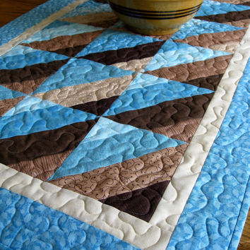 Quilted Table Runner - Aqua and Brown Wall Hanging - Ready to Ship - Patchwork Table Linen - Bed Runner - Handmade Homemade - Quilt for Sale
