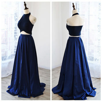 A-Line Halter Two Piece Prom Dresses Evening Dresses