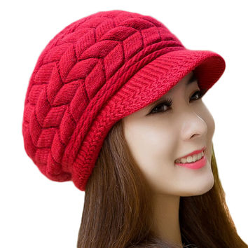 Lanshifei 8 Color Fall Winter Beanies Knitted Hat Rabbit Fur Cap Snapback Cap Lady Female Brim stripe Skullies Women Hats Gorro