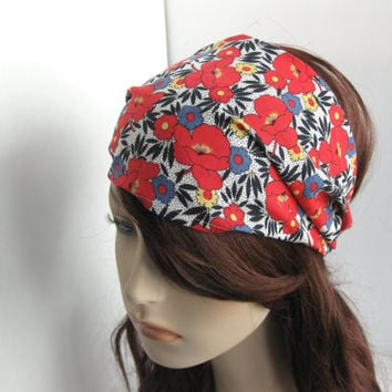 Gypsy Head Wrap Dreadband Women's Headband Fabric Hair Bandana Red Poppies Retro Hippie Print Hair Accessory