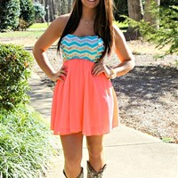 Chevron Sequin Top Dress - Coral