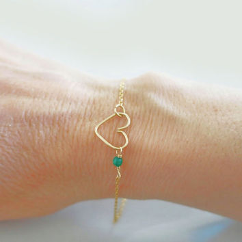 Emerald Bracelet, Gold Filled Heart Bracelet, Genuine Gemstones, Sterling Silver Rose Gold Fill, May Birthstone Baby Girl Delicate Jewelry