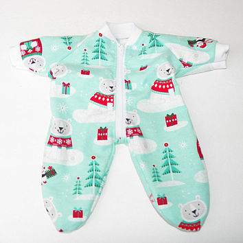 bitty baby clothes, boy, girl, or 15 inch twin doll,pajamas pjs sleeper, christmas winter, flannel, penguin polar bear Adorabledolldesigns