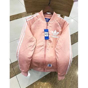 Adidas Autumn And Winter Fashion New Bust Letter Leaf Print Sleeve Stripe Keep Warm Down Jacket Coat Pink