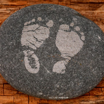 Personalized Baby Footprints on Stone-- Memorial Rocks-- Inspirational Handwritten Garden Stone