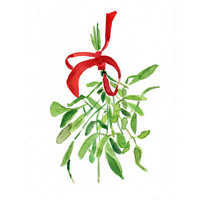 Mistletoe Art print of original watercolor painting ,Christmas bouquet with Red ribbon, Holiday wall decor,Limited edition