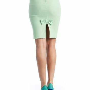 high waist pencil bow skirt $18.40 in BLACK MINT WHITE - Seafoam Green | GoJane.com