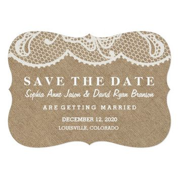 Rustic Burlap and Lace Wedding SAVE THE DATE 5x7 Paper Invitation Card