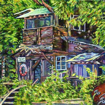 "Giclee print on canvas - Boathouse, Denman Island - 8"" x 10""  - Signed/Editioned"