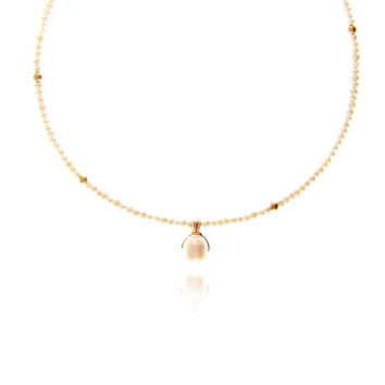 Pearl and gold pendant necklace  - 14kt gold fill wire wrapped bail.