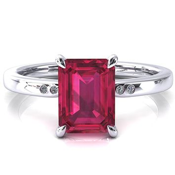 Maise Emerald Ruby 4 Prong Diamond Accent Engagement Ring