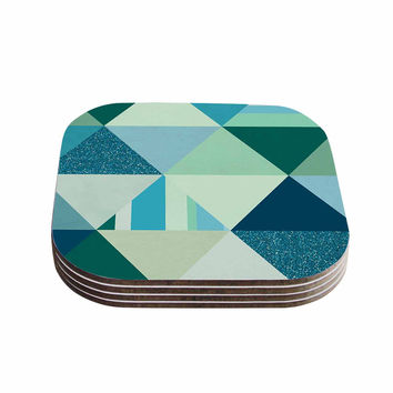"Noonday Design ""The Triangle Blues"" Geometric Blue Coasters (Set of 4)"