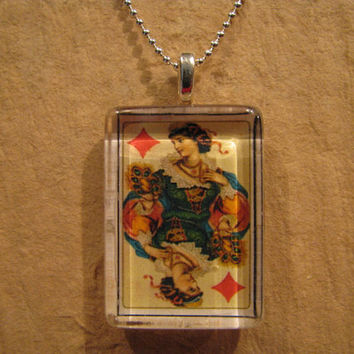"""Antique Playing Card Queen of Diamonds Rectangle Glass Pendant with 24"""" Ball Chain Necklace"""
