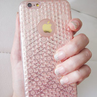 US seller iPhone 6 6S case clear rose gold floral fashion phone metallic geometr