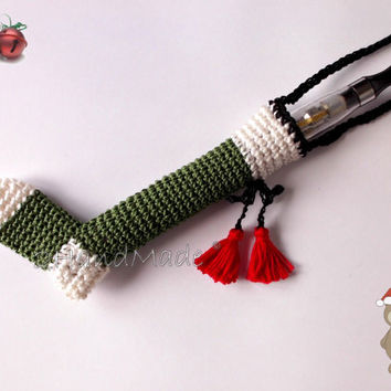 Ecig Cigarette Vaporizer Holder Lanyard Necklace Santa Xmas Sock Crochet Electronic Amigurumi Cotton Unisex Black Red White Green