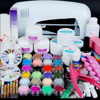 9w Uv White Dryer Lamp 24 Color Acrylic Powder Nail Art Kit Gel Tools