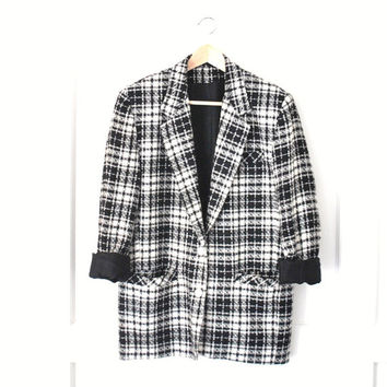 plaid TWEED boyfriend blazer / VINTAGE 80s black + white PLAID wool long jacket small medium large