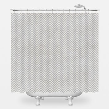 Fine Grey Chevron Shower Curtain