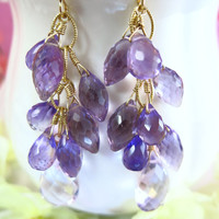 Pink and Purple Amethyst Chandelier Earrings, Lavender Cluster Gold Earrings