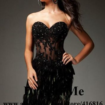 Sweetheart Neckline See Through Corset Black Feathery Cocktail Dress VESTIDOS DE FESTA