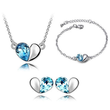 Romantic Platinum Gold Plated Jewelry Sets Simple Heart Pendant Necklace/Earrings/Bracelet With Austrian Crystal For Woman Gift