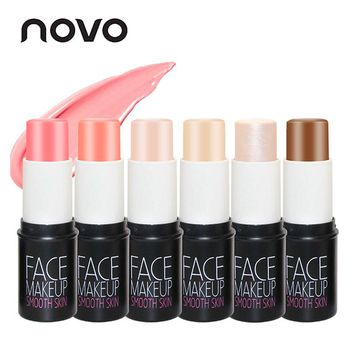 NOVO Brand Face Matte Blush Cream Stick Make Up Bronzer Rouge Cheek Mineral Blusher Set Makeup